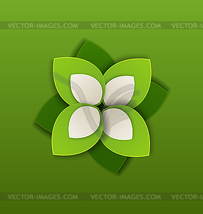 Öko-Label in Papier grünen Blättern - vektorisiertes Clip-Art