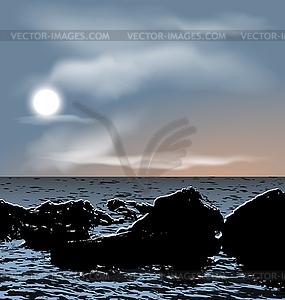 Natur Hintergrund, Meer Steine während der Dämmerung - Vector-Clipart EPS