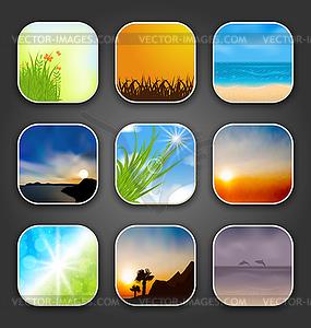 Naturlandschaften für App-Symbole - Vector-Clipart / Vektor-Bild