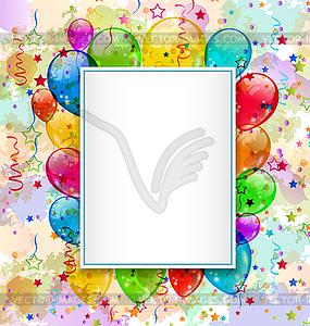 Geburtstagskarte mit Luftballons und Konfetti - vektorisiertes Clipart