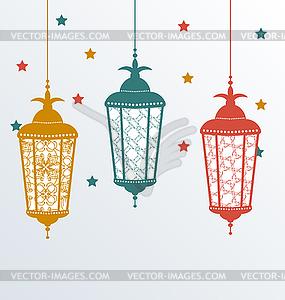 Filigrane Arabisch-Lampen für Ramadan Kareem - Stock-Clipart