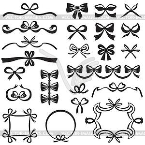 Bow Design-Element-Set - Vector-Clipart EPS