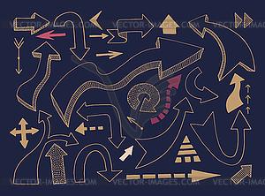 Hand zeichnen verschiedene Pfeile Set, Marker doodle - Clipart-Design