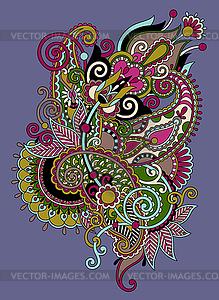 Original hand draw line art kunstvollen Blumen-Design. - vektorisiertes Clipart
