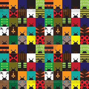 Textur mit Quadraten in Form von Käfern - vektorisierte Grafik