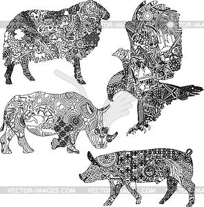 Der Tiere festgelegt in den ethnischen Ornamenten - Vector-Bild
