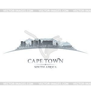 Kapstadt Südafrika Skyline Silhouette Whit - Vector-Clipart EPS