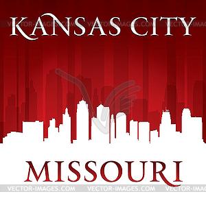 Kansas City Missouri Skyline-Silhouette rot - Vektorgrafik