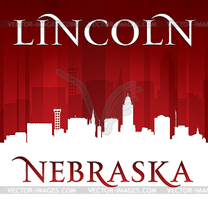 Lincoln Nebraska Stadt Silhouette rotem Hintergrund - Vektor-Clipart / Vektor-Bild
