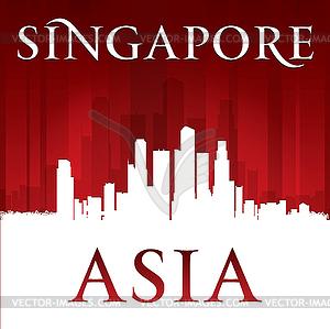 Asien Singapur-Stadt-Skyline-Silhouette rot - Vektor-Clipart EPS