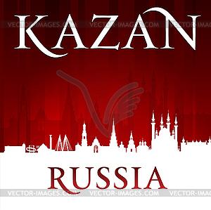 Kazan Russland Skyline der Stadt Silhouette rotem Hintergrund - Vektor-Illustration