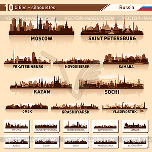 Набор горизонты городов. 10 Städte in Russland - Vektor-Clipart / Vektor-Bild
