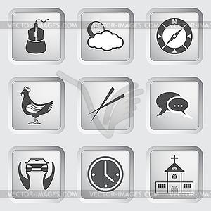 Icons auf Schaltflächen für Web-Design. Set - Vector-Clipart EPS