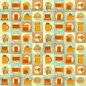 Wohnung Haushaltsgeräte Nahtlose Hintergrund - Vector-Illustration
