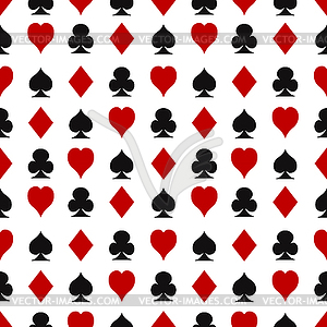 Nahtlose Muster mit Spielkarten Anzüge - Vektor-Clipart