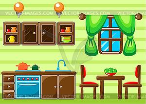 Interieur einer Küche - Stock Vektor-Bild