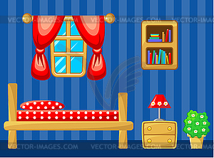 Schlafzimmer. Innere - Vector-Illustration