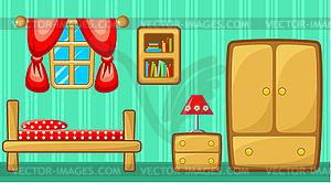 Schlafzimmer. Innere - Vector-Clipart / Vektor-Bild
