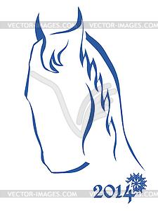 Sign of New Year - Blaues Pferd Kopf - Clipart-Design
