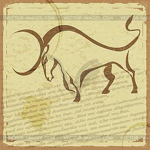 Historische Postkarte mit Silhouette des Büffels - Royalty-Free Clipart