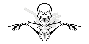 Tod Monster auf dem Motorrad - schwarzweiße Vektorgrafik