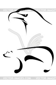 Silhouetten von einem Adler und Bär - Vector-Clipart