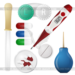 Set von medizinischen Themen - farbige Vektorgrafik