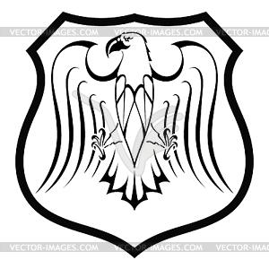 Schwarze Silhouette eines Adlers in Schild - Vector-Clipart / Vektor-Bild