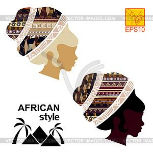 Silhouetten der Kopf eines schwarzen afrikanischen Mädchen - vektorisiertes Clipart