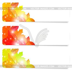 Set von drei Flyer Herbst Thema mit Laub. - Vector-Bild