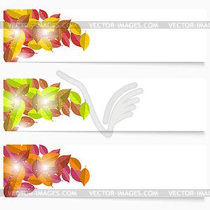 Set von drei Herbst-Flyer. Grün und gelb - Vektorgrafik