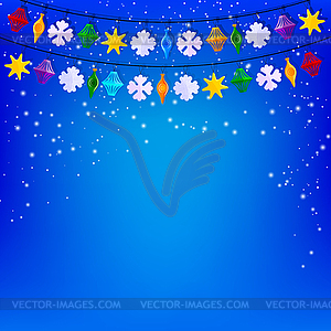 Festliche blauen Hintergrund mit Girlande aus Papier - Stock Vektor-Clipart