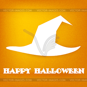Halloween. White Silhouette der Hexe Hut auf orange - Clipart