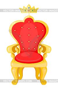 Leuchtend rote Thron und Königskrone auf weißem - Vector-Design