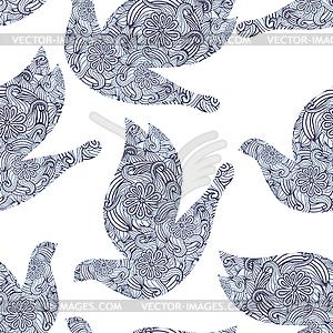 Nahtlose hellen Muster mit Tauben und doodle. - Vector-Illustration