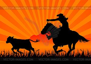 Reiten Cowboy - Royalty-Free Vektor-Clipart