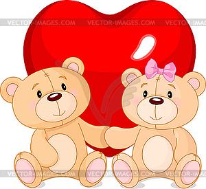 Teddybären in der Liebe - Royalty-Free Vektor-Clipart