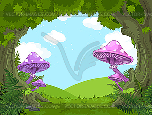 Landschaft mit Windmühlen - vektorisiertes Design