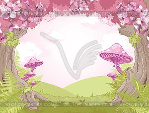 Landschaft mit Windmühlen - Vektor-Clipart / Vektor-Bild