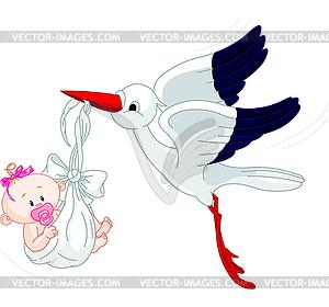 Storch und Baby - Vector-Clipart / Vektor-Bild