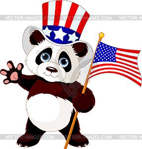 Panda-Holding amerikanische Flagge - Vektor-Illustration