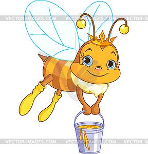 Biene hält Eimer Honig - Vector-Clipart EPS