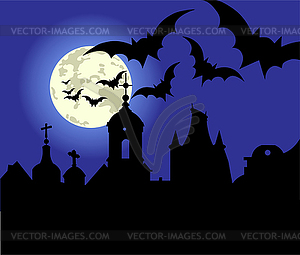 Halloween-Nacht in der Stadt - Vektorgrafik