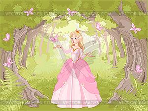 Ein Spaziergang Prinzessin in fantastische Holz - Stock-Clipart