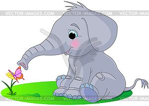 Cute Baby-Elefant - Vektor-Skizze