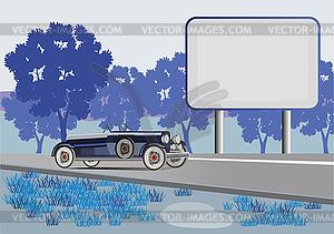 Retro-Auto auf einem Hintergrund von einer Landschaft und einem billboar - Vector-Design