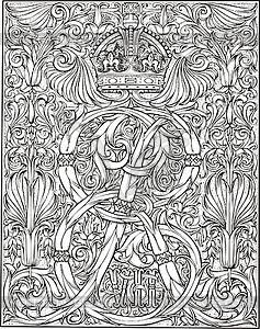 Königliches Monogramm ER mit Krone - schwarzweiße Vektorgrafik