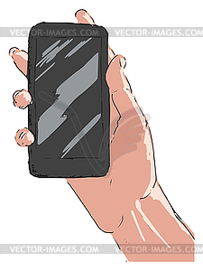 Hand mit Smartphone - vektorisierte Grafik