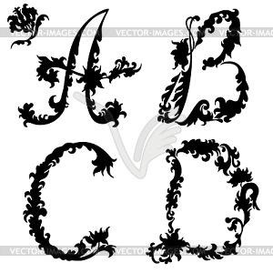 Anfangsbuchstaben Silhouette BCD - Vektor-Clipart / Vektorgrafik