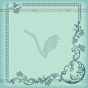 Ornament-Rahmen, dekorativen Muster auf türkis - Vektor Clip Art